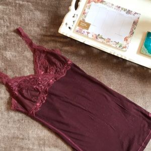 Abercrombie & Fitch Maroon Lace Spaghetti Tank